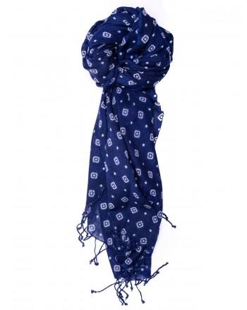 CAMERUCCI - Stola MARGHERITA GEOMETRIC in lana - Blu