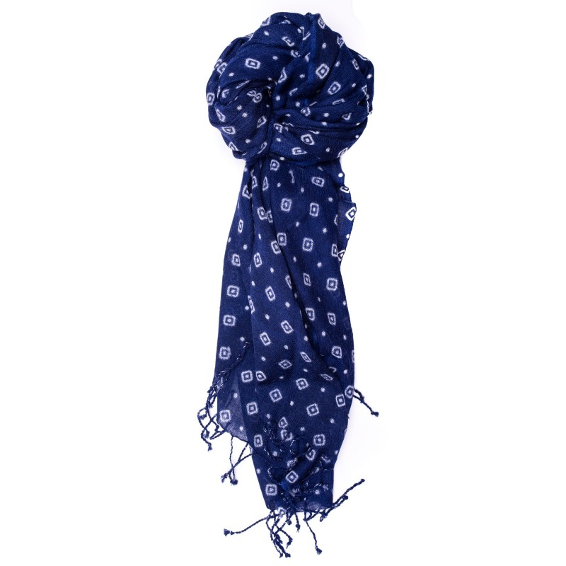 CAMERUCCI - MARGHERITA GEOMETRIC wool scarf  - Blue