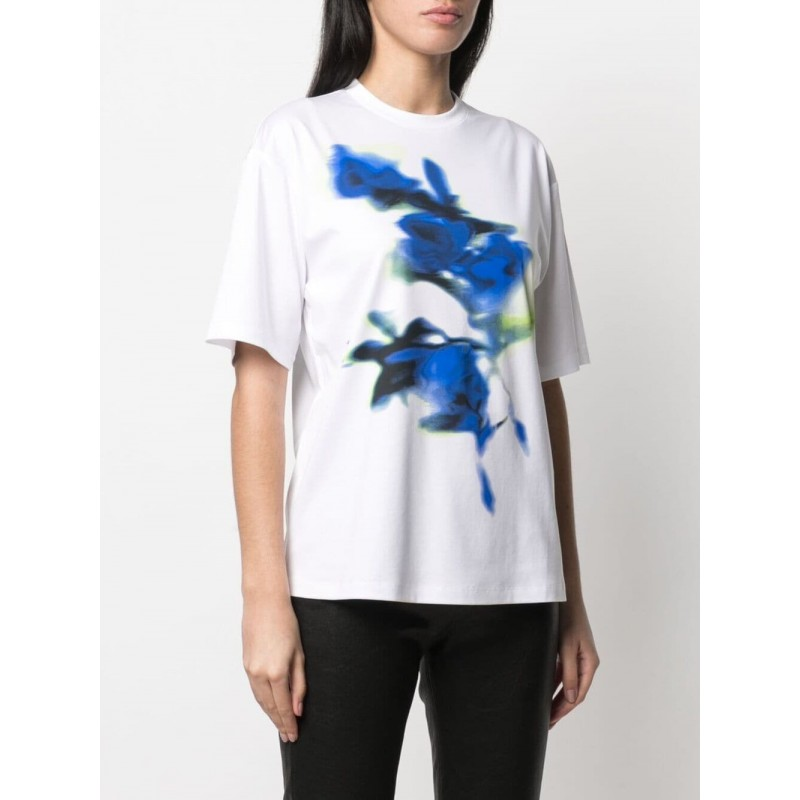 SPORTMAX -T-Shirt in Cotone AEROSO  SP297102110 - Bianco/Blu