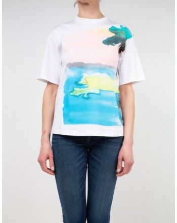 SPORTMAX - AEROSO Cotton T-Shirt SP297102110 - White/Palm