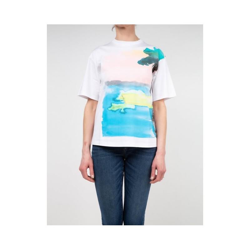 SPORTMAX -T-Shirt in Cotone AEROSO  SP297102110 - Bianco/Palma