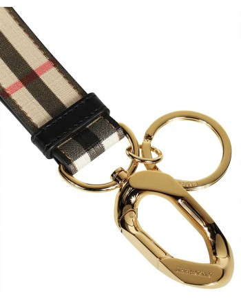BURBERRY - Keychain with Check pendant - Archive Beige