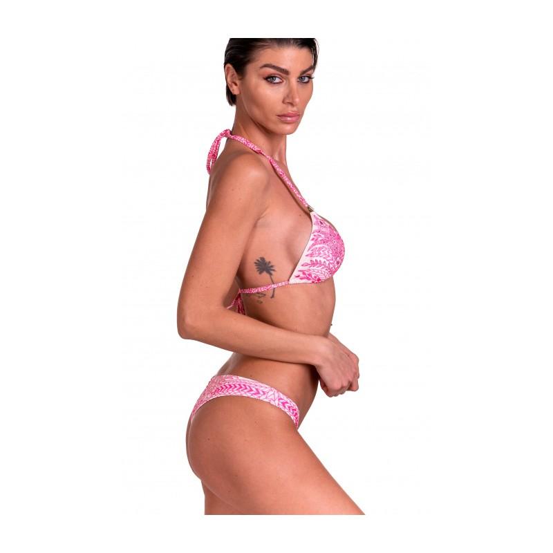 PIN-UP STARS - Padded Triangle Bikini Slip Lady Etnic Flower - fucsia