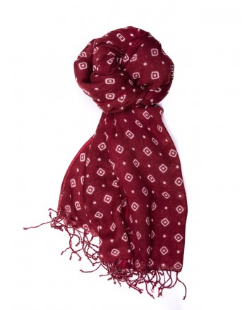 CAMERUCCI - MARGHERITA GEOMETRIC wool scarf  - Bordeaux