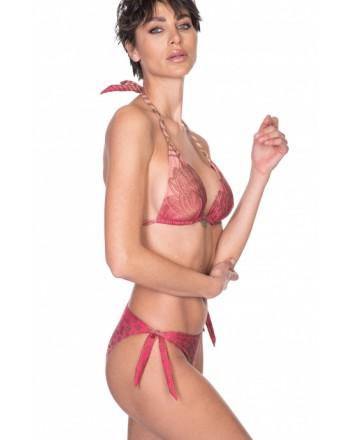 PIN-UP STARS -  Bikini Triangolo Imbottito Slip Bows Animal Cool Degrada' PA082F - Fucsia