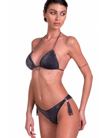 PIN-UP STARS - Bikini Triangolo Imbottito Slip Brasiliana Ricamo Cristalli PA070CF - Nero