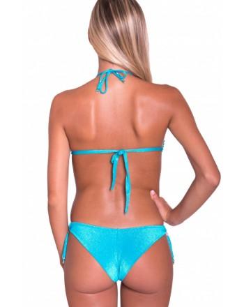 PIN-UP STARS - Bikini Triangolo Imbottito Slip Brasiliana Ricamo Cristalli PA070CF - Turchese