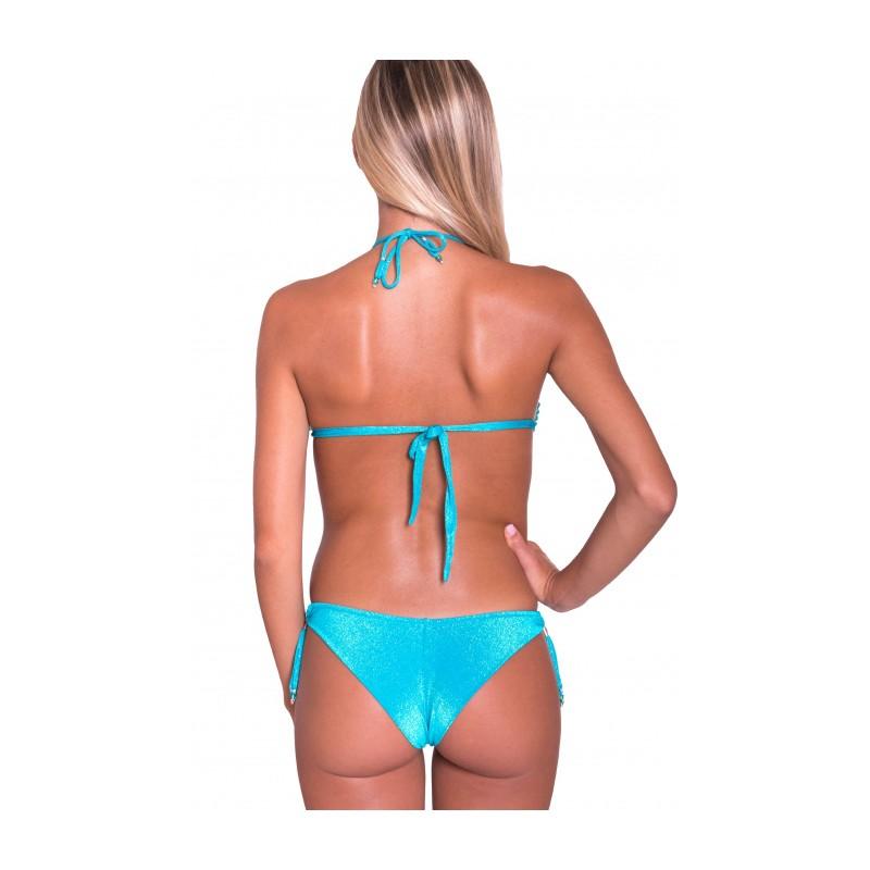 PIN-UP STARS - Triangle Bikini Padded Brazilian Slip Crystals Embroidery PA070CF - Turquoise