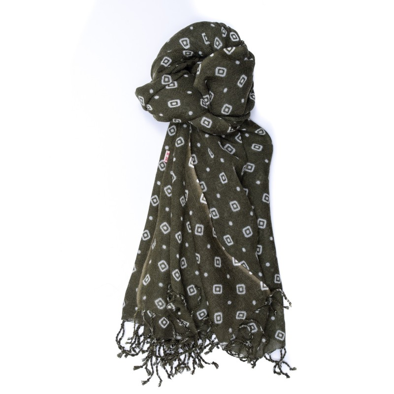 CAMERUCCI - MARGHERITA GEOMETRIC wool scarf  -  Military Green