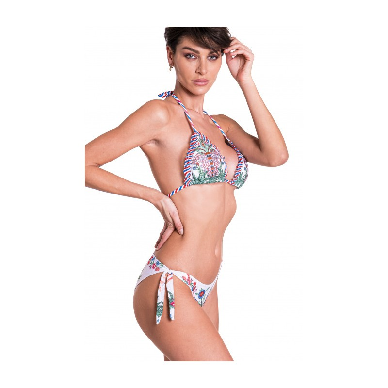 PIN-UP STARS - Padded Triangle Bikini Slip Lady Chameleon Strass 20P090T - white