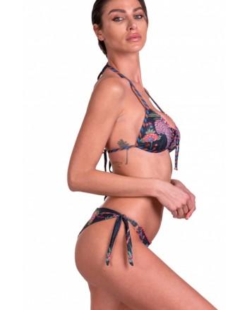 PIN-UP STARS -  Bikini Triangolo Push-Up Slip Brasiliana Camaleonte 20P092CF - Nero