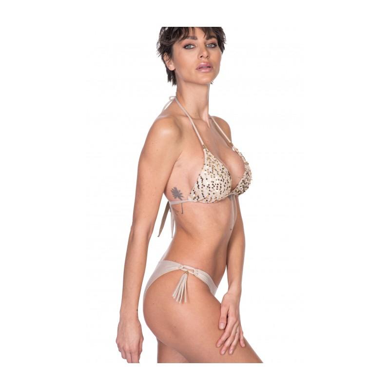 PIN-UP STARS - Bikini Triangolo Imbottito Slip Fiocchi Rete Paillettes PA020F - Oro