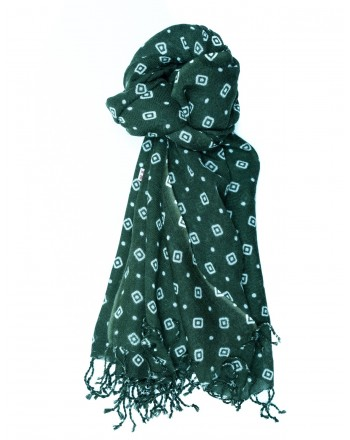 CAMERUCCI - MARGHERITA GEOMETRIC wool scarf  - Green