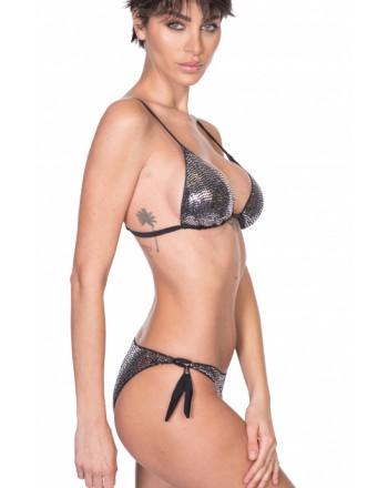 PIN-UP STARS - Padded Triangle Bikini Slip Bows Full Mirrors PA042F - Black
