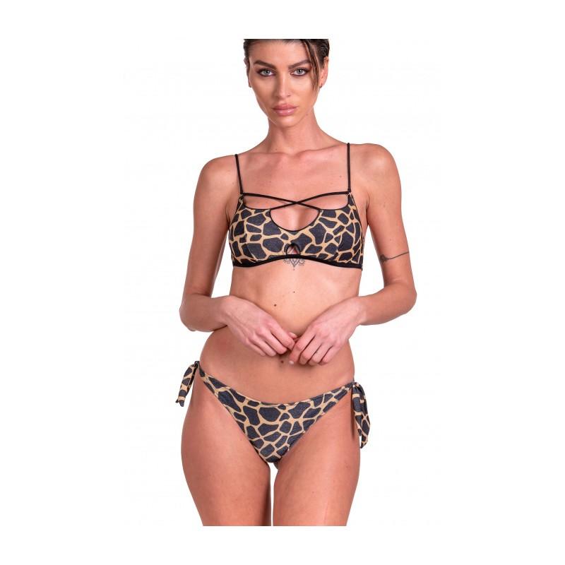 PIN-UP STARS - Giraffe Brazilian Brassiere Bikini Bottoms 20I072CF - Black / Gold
