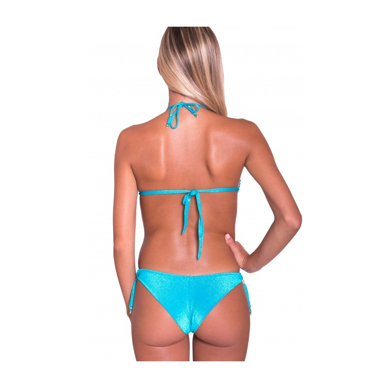PIN-UP STARS - Bikini Brassiere Slip Bows Etnic Flower PA061F - Turquoise