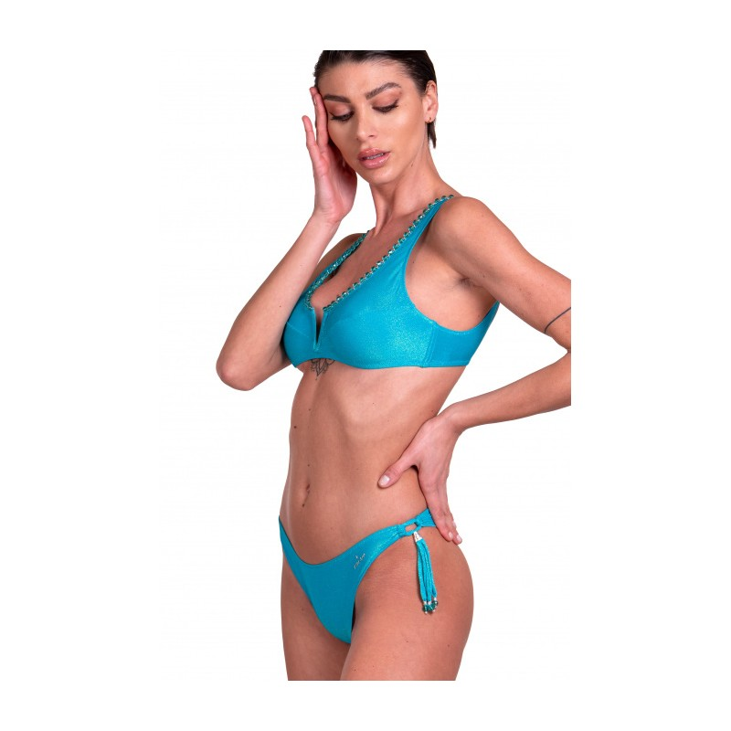 PIN-UP STARS - Bikini Brassiere Slip Bows Embroidery Iridescent Lurex Crystals PA072F - Turquoise