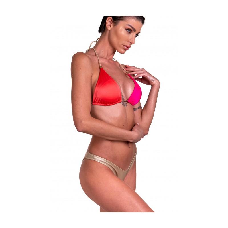 PIN-UP STARS -  Bikini Triangolo Imbottito Slip Sgambato Bicolor PA240SG -Fucsia/oro