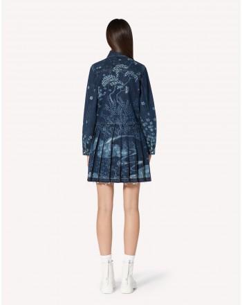 RED VALENTINO - ORIENTAL TOILE DE JOUY  Laser Printed Dress VR3DA00U5P0 - Denim