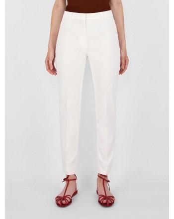 MAX MARA STUDIO - Pantaloni in Gabardina di Cotone NICHEL 613103110 - Bianco