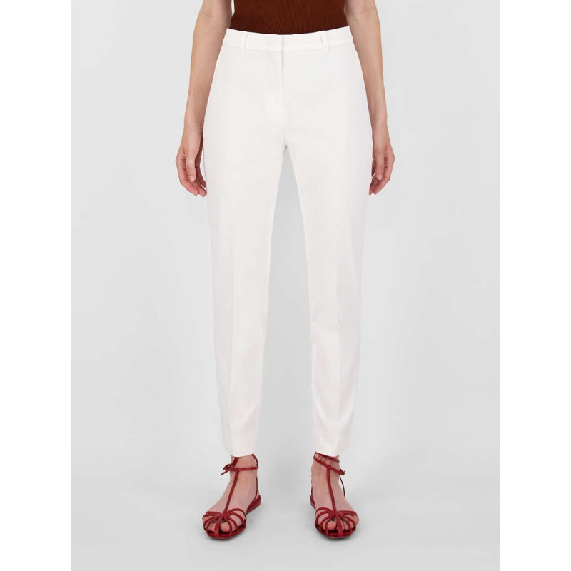 MAX MARA STUDIO- NICHEL Cotton Gabardine Trousers 613103110- Black - White
