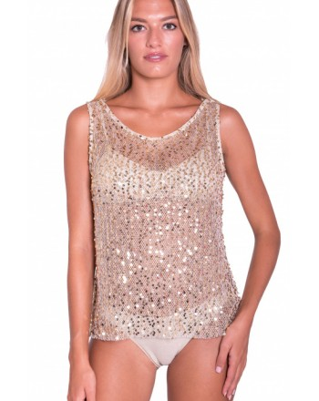 PIN-UP STARS - Paillettes Mesh Tank PA024TO - Gold -