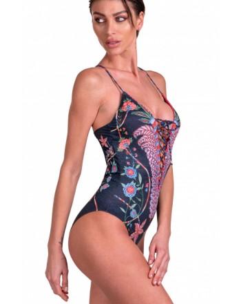 PIN-UP STARS - Costume Da Bagno Intero Incrociato Camaleonte 20P094I - Nero -
