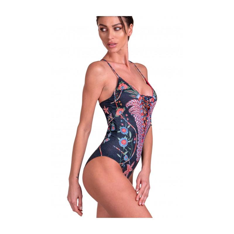 PIN-UP STARS - Chameleon Crossed One-piece Swimsuit 20P094I - Black -