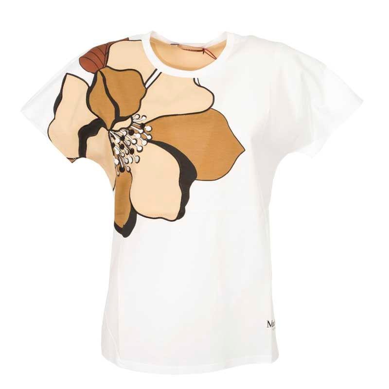 MAX MARA STUDIO - T-Shirt con Maxi Fiore BAVIERA  - Bianco