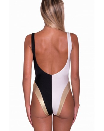 PIN-UP STARS - Bicolor and Gold One-piece Swimsuit PA044I - White / Black