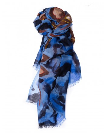 CAMERUCCI - Stola ROSA in lana - Azzurro