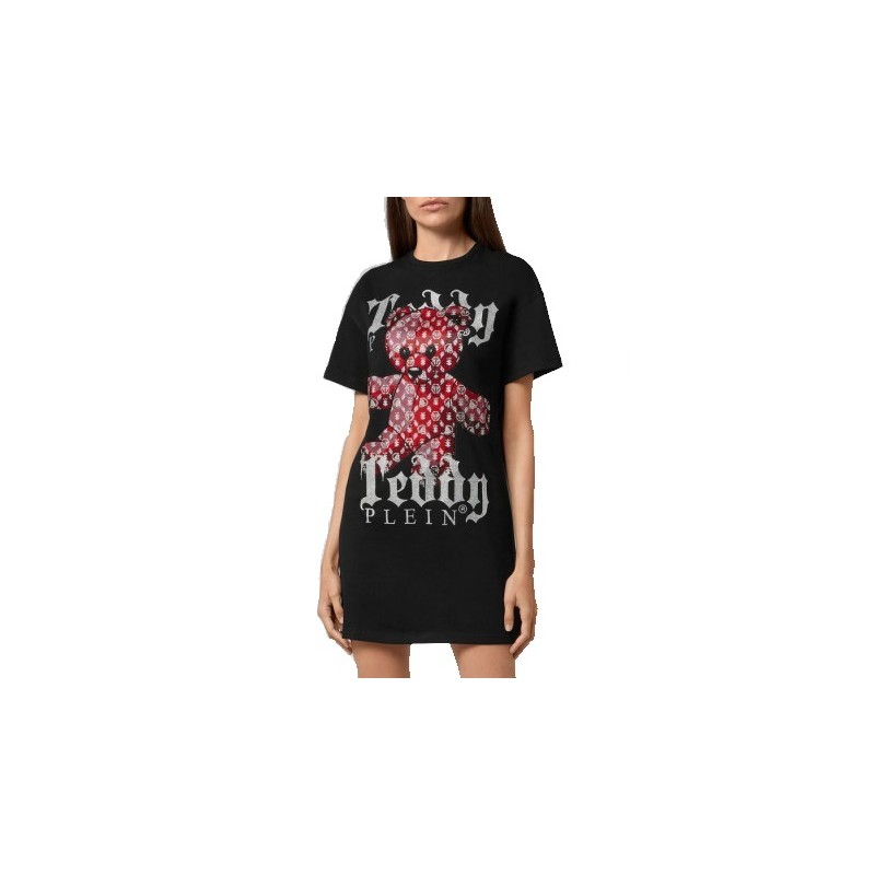 PHILIPP PLEIN - T-Shirt Dress TEDDY BEAR - Black