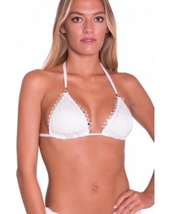 PIN-UP STARS -  Bikini Triangolo Imbottito Tinta Unita Borchie Specchio A Punta PA030TR -Bianco