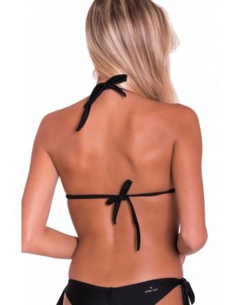 PIN-UP STARS -  Bikini Triangolo Imbottito Tinta Unita Borchie Specchio A Punta PA030TR - Nero