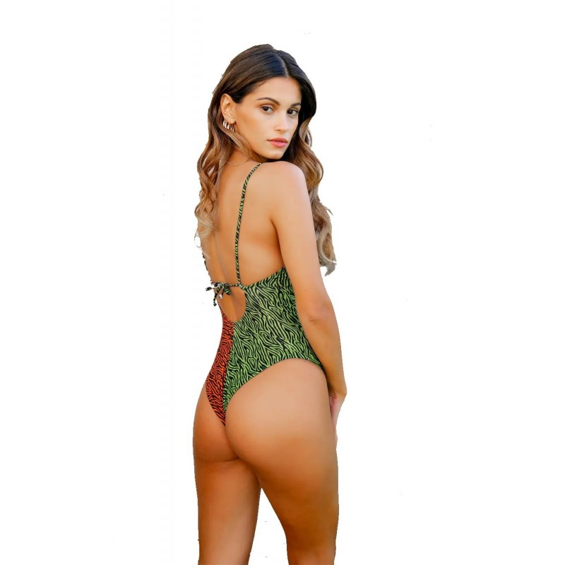 AQUA VIVA - Amalfi Animalier Leopard - green / orange