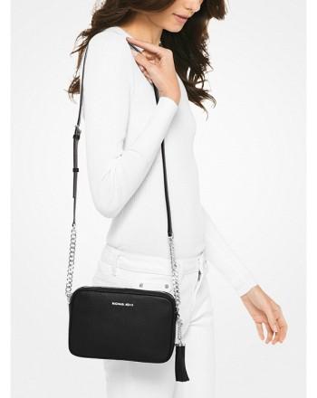 MICHAEL by MICHAEL KORS - GINNY Leather Shoulder  Bag - Black