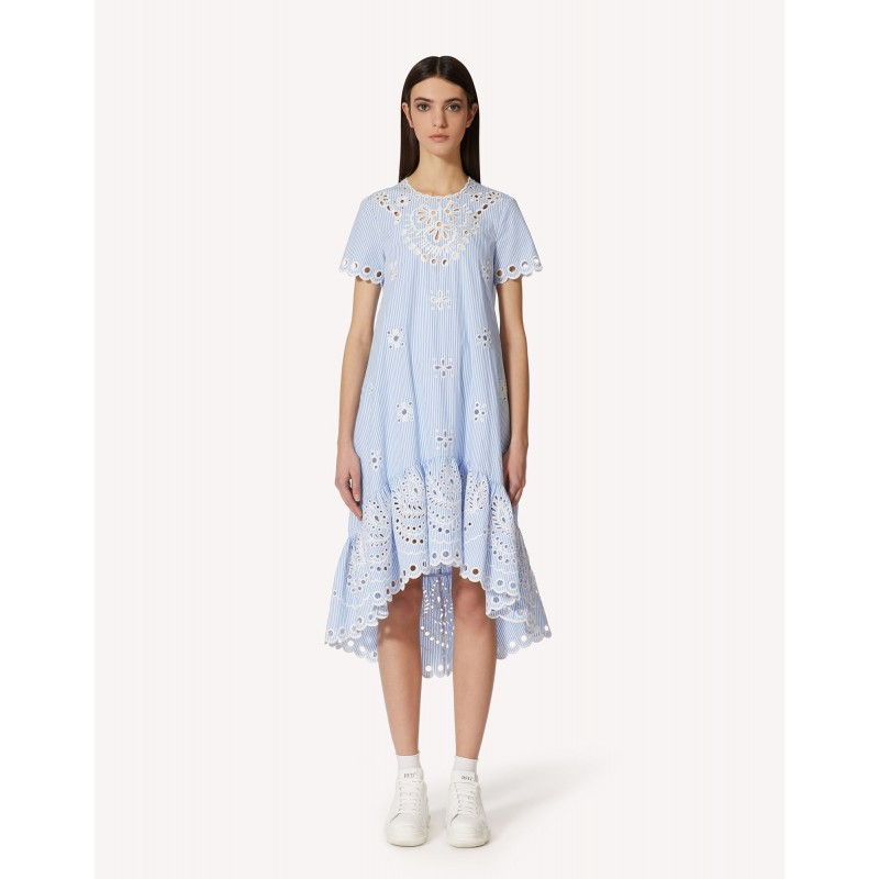 RED VALENTINO - Cotton Dress with Broderie Anglaise Lace - White/Light Blue