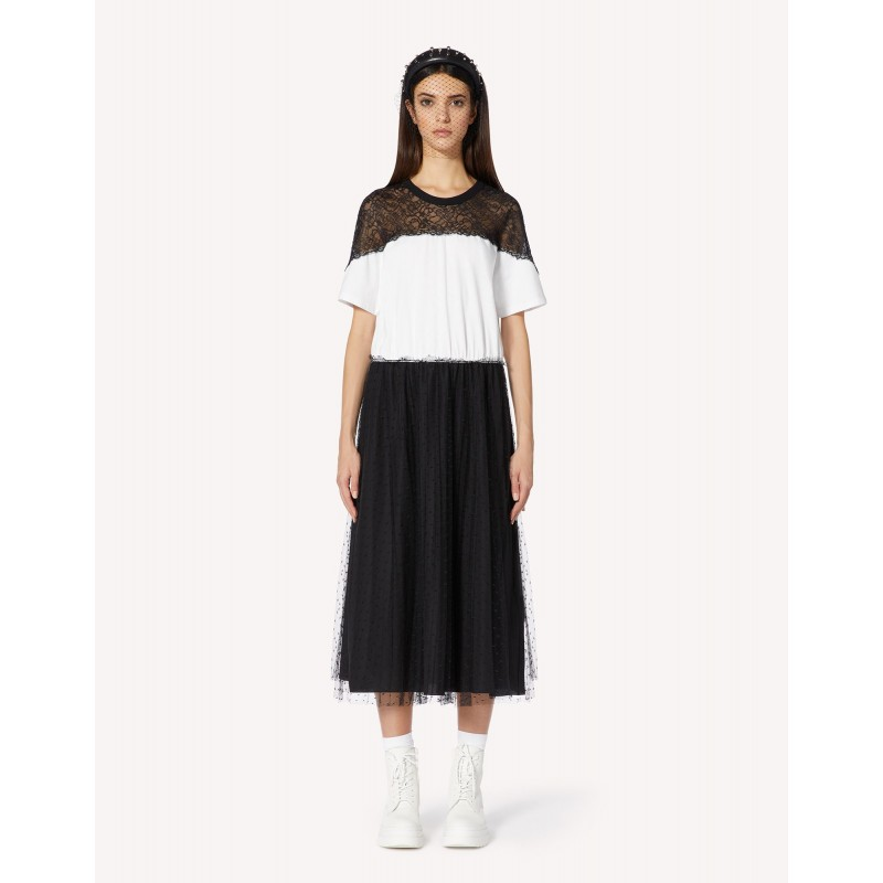 RED VALENTINO - Cotton Dress with Lace Details - White/Black