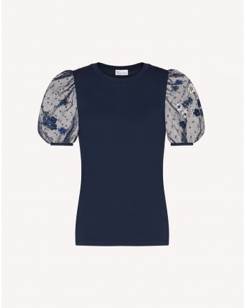 RED VALENTINO - Lace Sleeves T-Shirt - Blue