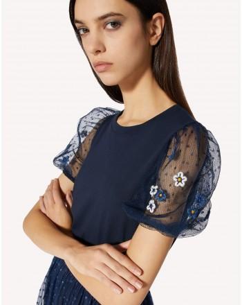 RED VALENTINO - T-Shirt con Maniche in Pizzo - Blu