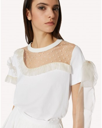 RED VALENTINO - Frills T-Shirt  - White