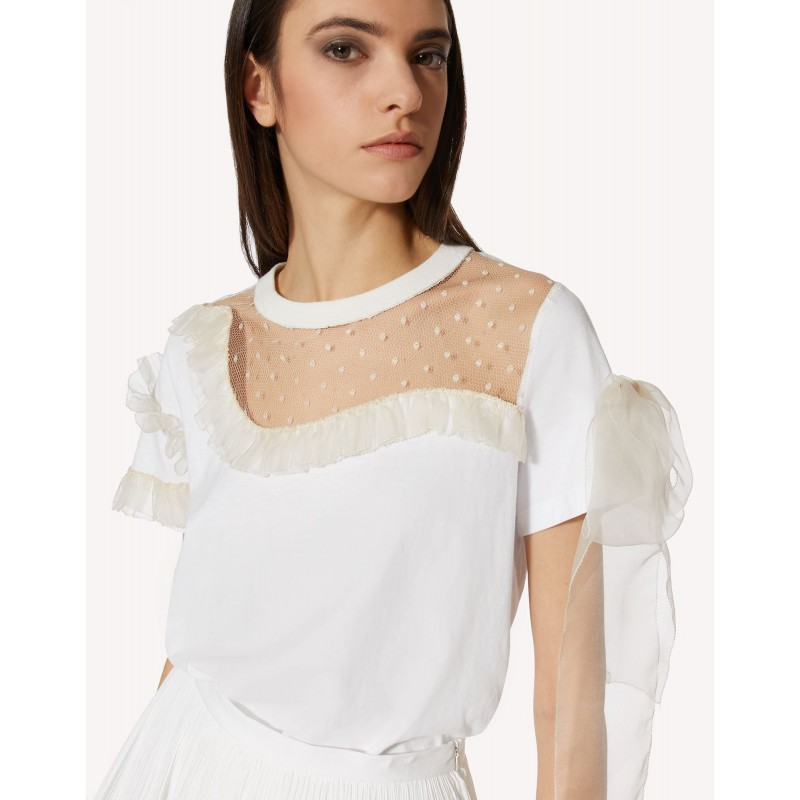 RED VALENTINO - T-Shirt con Ruches - Bianco