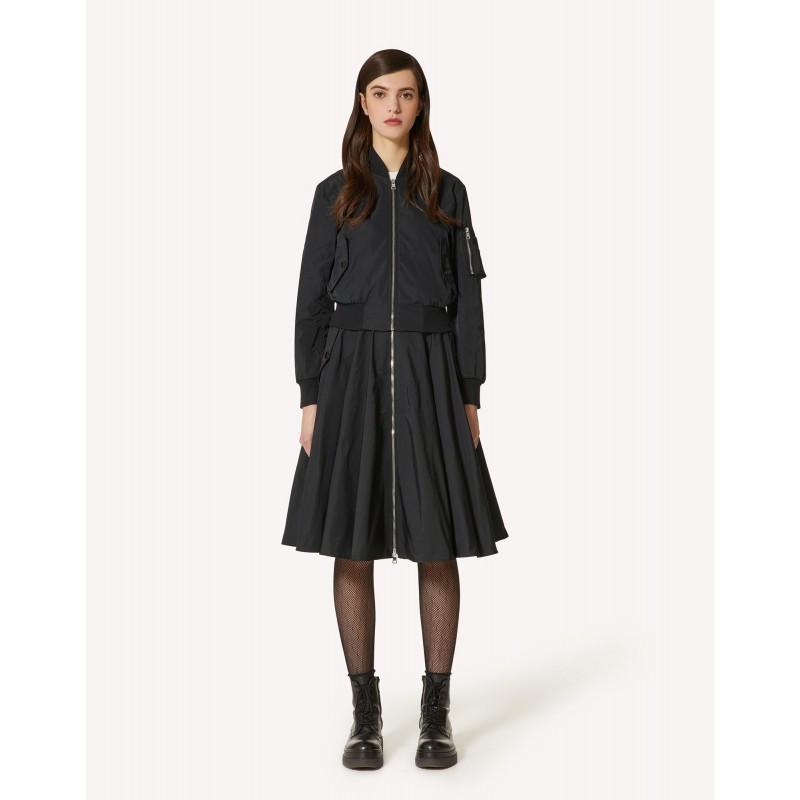 RED VALENTINO - Twill Taffeta Zipper Skirt - Black