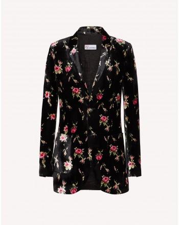 RE VALENTINO - Velvet Blazer with Roses - Black