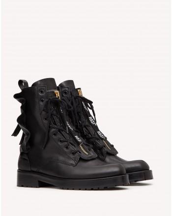 RED VALENTINO - Frills Combat Boots- Black