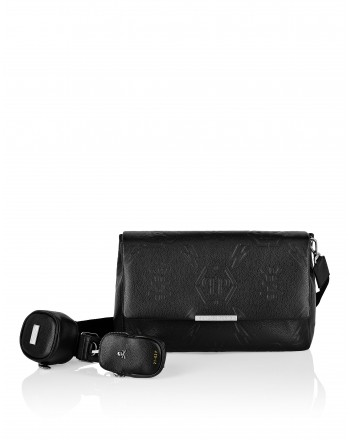 PHILIPP PLEIN -Leather Monogram Shoulder Bag- Black
