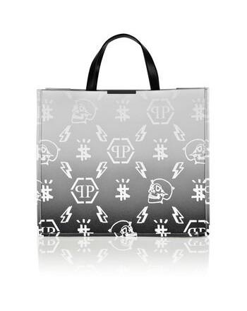 PHILIPP PLEIN -Leather Monogram Shopping Bag -White/Black
