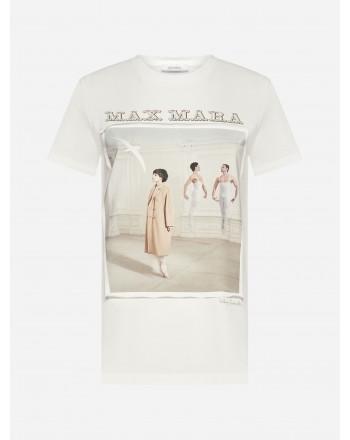 MAX MARA - T-Shirt in Cotone BALLO - Bianco Seta