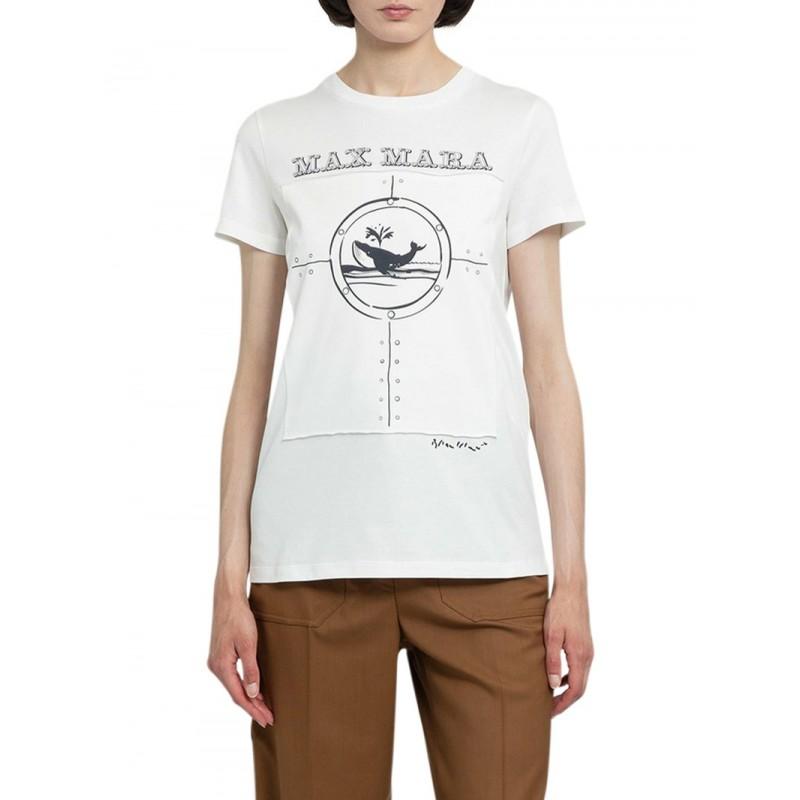 MAX MARA - OBLO Cotton T-Shirt - Silk White