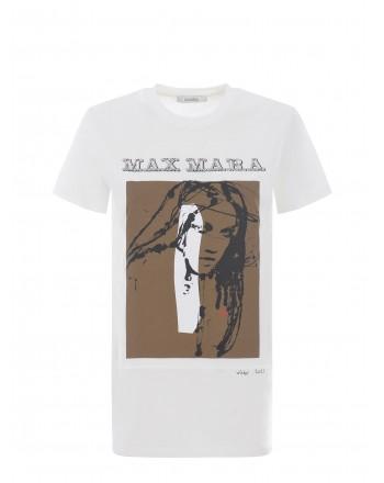 MAX MARA - T-Shirt in Cotone DIVINA - Bianco Seta